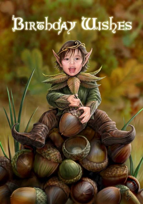 ANNE STOKES Acorn Pixie Birthday Wishes Greeting Card